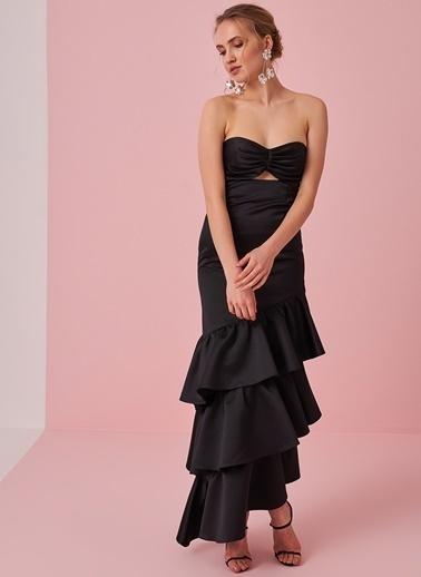 morhipo x dcey Eteği Volanlı Straplez Elbise Siyah